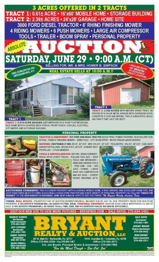 HOMER SIMPSON REAL ESTAE, TRACTOR, PERSONAL PROPERTY Auction