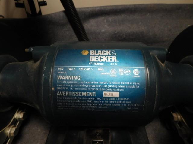 "Bench Grinder, B & D 6"" w/2 grinding wheels (good) + extra ..."